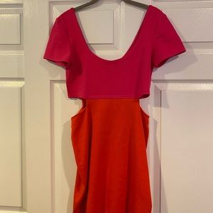 NEVER WORN Pink and orange dress with cutouts